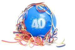 Aerostato di compleanno con il numero 40 Fotografie Stock Libere da Diritti