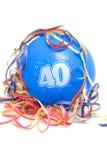 Aerostato di compleanno con il numero 40 Immagini Stock Libere da Diritti