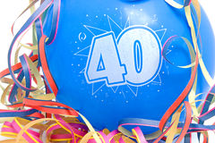 Aerostato di compleanno con il numero 40 Immagine Stock