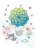 Aerostato dibujado mano con el globo suculento de la flor ilustración del vector