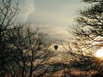Aerostato fra gli alberi fotografie stock libere da diritti