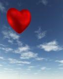 Aerostato Heart-Shaped rosso del biglietto di S. Valentino Immagine Stock