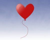 Aerostato rosso del cuore Fotografie Stock