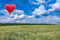 Aerostato rovente sotto forma di un cuore sopra il prato di estate Fotografie Stock Libere da Diritti