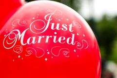 Aerostato sposato appena Fotografie Stock