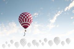 Aerostatos en cielo Imágenes de archivo libres de regalías
