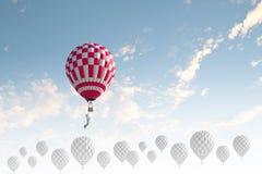 Aerostatos en cielo Imagen de archivo libre de regalías