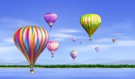 Aerostatos grandes en el cielo azul libre illustration