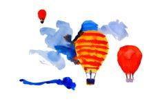 Aerostatos que vuelan al cielo imagen de archivo libre de regalías