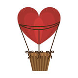 Aerostats heart ballons red flying Royalty Free Stock Photo