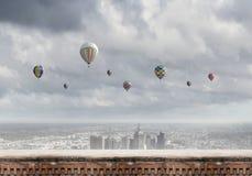 Aerostats no céu Fotos de Stock