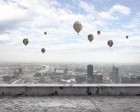 Aerostats no céu Fotografia de Stock Royalty Free