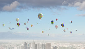Aerostats no céu Imagem de Stock