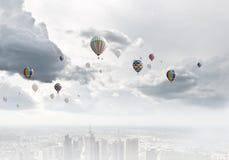 Aerostats no céu Imagem de Stock Royalty Free