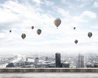 Aerostats no céu Imagens de Stock