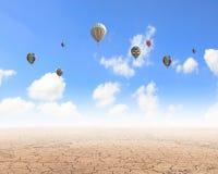 Aerostats in sky Stock Image