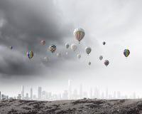 Aerostats in sky Royalty Free Stock Photography