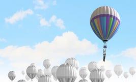 Aerostaty w niebie Zdjęcia Stock