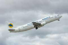 Aerosvit Boeing 737 takeoff Stock Photo