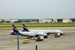 Aerosvit Ukraine planes. Preparing to leave airport ground Stock Photography
