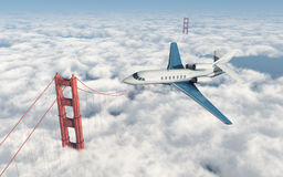 Aerotaxi sopra golden gate bridge illustrazione vettoriale