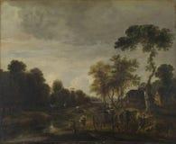 Aert van der Neer - un paisaje de igualación con un caballo y un carro por una corriente fotos de archivo libres de regalías
