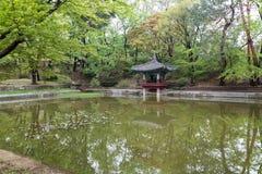 Aeryeonji-Teich am Changdeokgungs-Palast in Seoul Lizenzfreie Stockfotografie