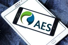 AES energy corporation logo. Logo of AES energy corporation on samsung mobile. The AES Corporation is a Fortune 200 company that generates and distributes Stock Photography
