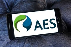 AES energy corporation logo. Logo of AES energy corporation on samsung mobile. The AES Corporation is a Fortune 200 company that generates and distributes Stock Image