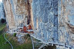 Aescher Cliff, Appenzell, Switzerland. Aerial view of the Aescher Cliff in Appenzell Canton, Switzerland and the moutain restaurant catering to hikers stock photo