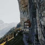 Aescher refuge in switzerland Stock Image