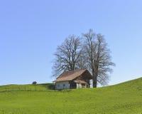 从Aeschiried的老农厂房子 免版税库存图片