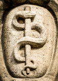 Aesculapian staff - Caduceus. At a historic gravestone (munich-cemetery west - hertrons 1902 stock photo