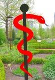 Aesculapian Symbol in einem Garten mit natürlichen Heilpflanzen Stockbild