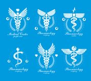 Aesculapius Greek vector abstract logotypes composed with wings, Stock Photo