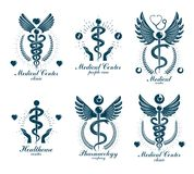 Aesculapius Greek vector abstract logotypes composed with wings,. Heart shapes, ecg charts and laurel wreaths. Medical symbols for use in pharmacology business Stock Photo