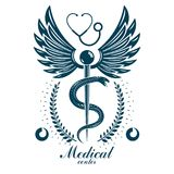 Aesculapius vector abstract business logo for use in medical tre Royalty Free Stock Photo
