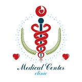 Aesculapius vector abstract business logo for use in medical tre. Atment. Cardiovascular system diseases prevention conceptual emblem Stock Image