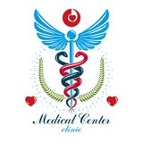 Aesculapius vector abstract business logo for use in medical tre Stock Photos