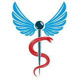 Aesculapius vector abstract emblem composed using wings and snak. Es best for used in pharmacy advertisement Stock Photos
