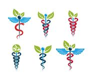Aesculapius vector abstract illustrations collection, Caduceus s Stock Photo