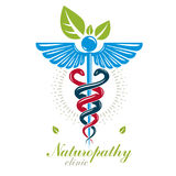 Aesculapius vector abstract logo, Caduceus symbol composed with Royalty Free Stock Image