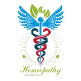 Aesculapius vector abstract logo, Caduceus symbol composed with Royalty Free Stock Photo