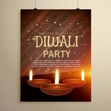 Aesome diwali festival celebration template with three diya on f. Ireworks background Royalty Free Stock Photography
