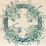 Aesthetic Garland Tile. Genuine Victorian tile c1890 in sea green and Aesthetic style Stock Photo