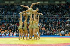 Aesthetic gymnastics. RUSSIA, MOSCOW - MARCH 27: Stadium Druzhba. The team of Russia on aesthetic gymnastics at the opening of the World Cup Memorial A Royalty Free Stock Photos