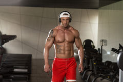 Aesthetic Man Listening Music In Modern Fitness Center Stock Photography