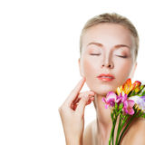 Aesthetic Midicine and Treatment Concept. Beautiful Woman Stock Image