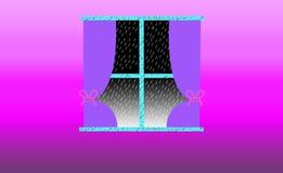 Aesthetical fönster som utanför visar kall regnig dag stock illustrationer