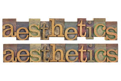 Aesthetics. The word of aesthetics in vintage wood letterpress type, stained by color ink, isolated on white, two layouts Stock Image